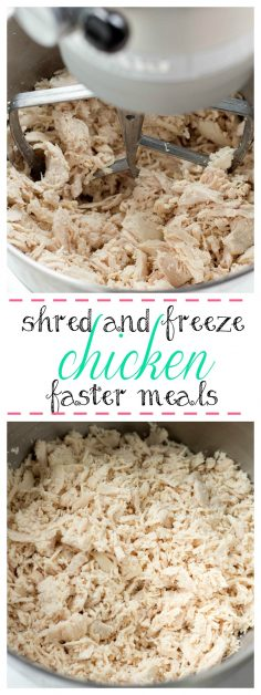 Time saving tip to prepare chicken for meals. If you try this, I promise you can cook your family a delicious meal quicker than going through a drive thru and your family will think you are amazing. I have been doing this for years. If you have your chicken already cooked and shredded, you can pull it out of the freezer and make a meal in about 15 minutes. Think about all the meals you can make quickly. I make chicken casserole, chicken tacos, chicken soup, and many other dishes in about 20 minutes. If you can cook on nights that you have church, ball games, or work late, you will save a lot of money, plus you can feel good about