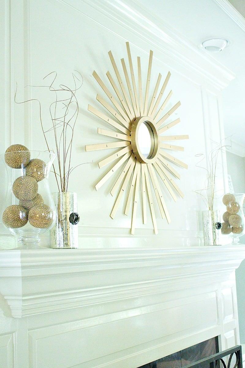 Sunburst Mirror I made using a Thrift Store faux wood mini blind.