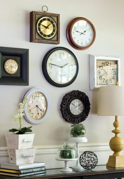 Gallery Wall From Thrift Store Clocks