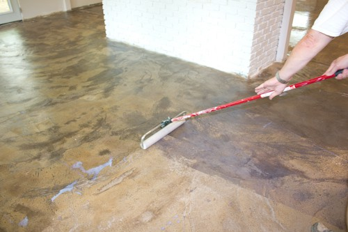 How we stained our concrete floors savvy apron for How to care for stained concrete floors