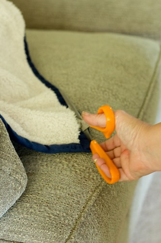 how to makeover a microsuede ottoman cheaply