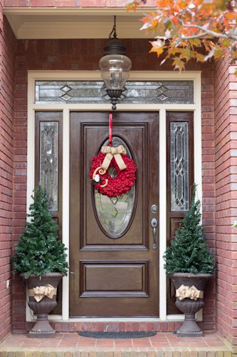 Gel stained front door savvy apron for Stained garage doors