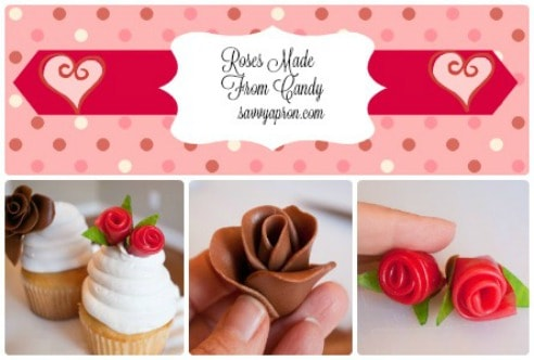 Make your own rose cupcake decorations from Tootsie Rolls or Fruit Roll Up Candy