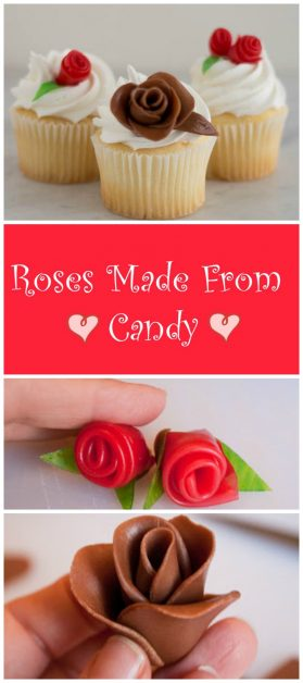 These cute roses look exactly like the fondant roses that cake decorators make but these are made from tootsie rolls and fruit roll-ups