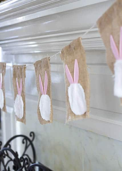 Make this adorable bunny garland with Dollar Store items.
