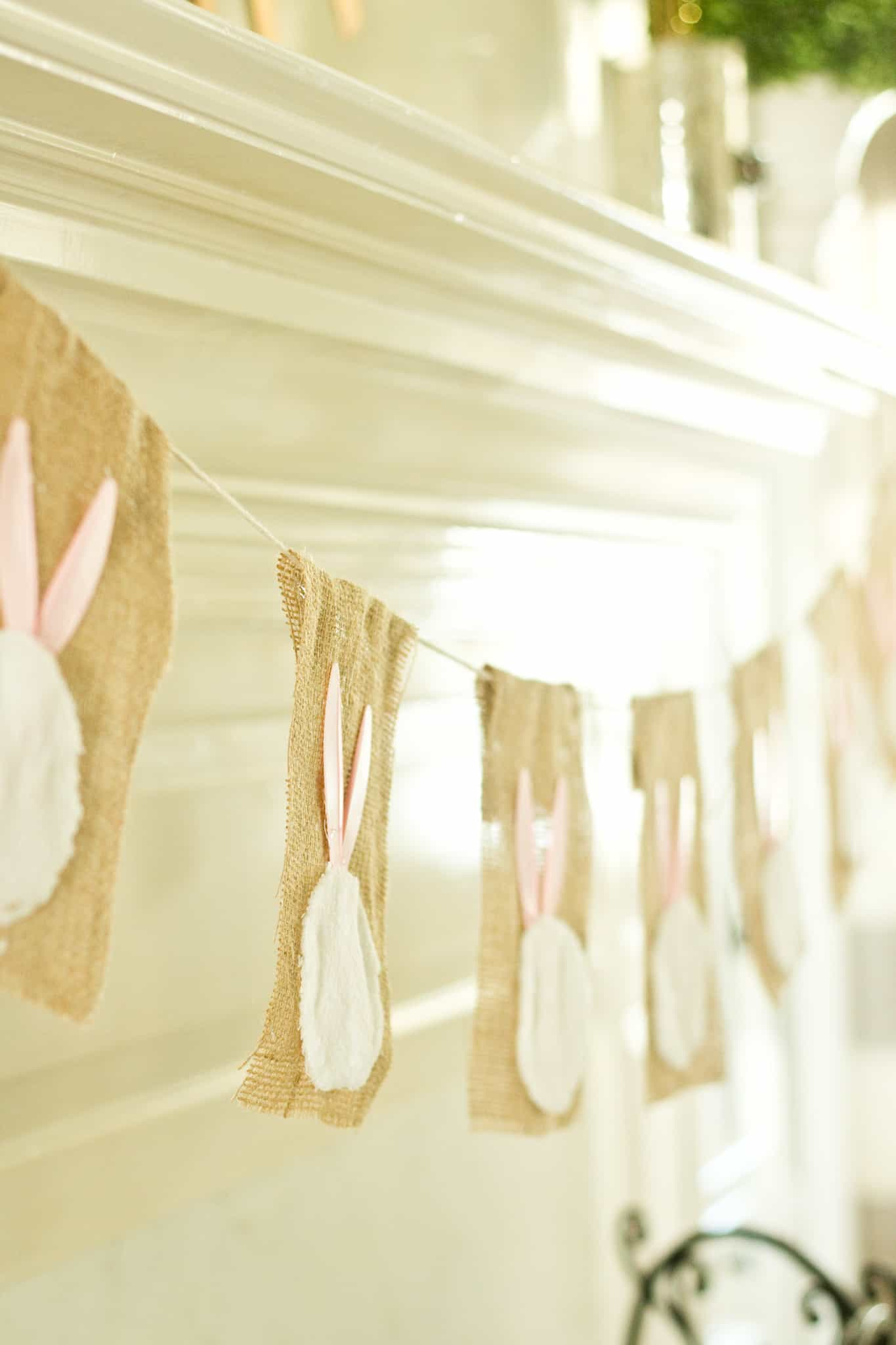 Easter Bunny Garland made from Dollar Store Plastic Knives and Car Cloth