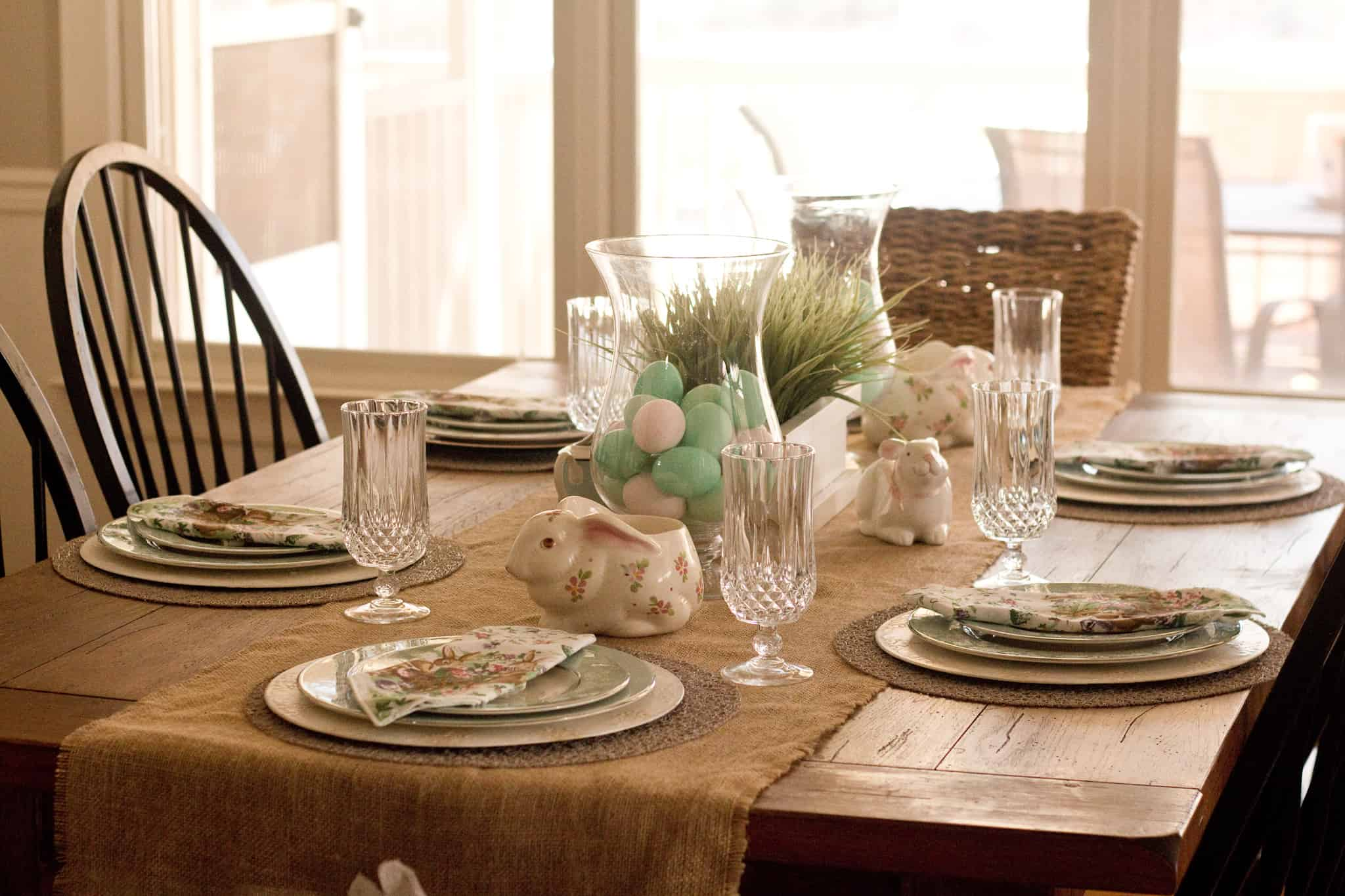 Easy Bunny Table Runner Made With Burlap & Bunny Table Runner and Thrifted Table Setting | Savvy Apron