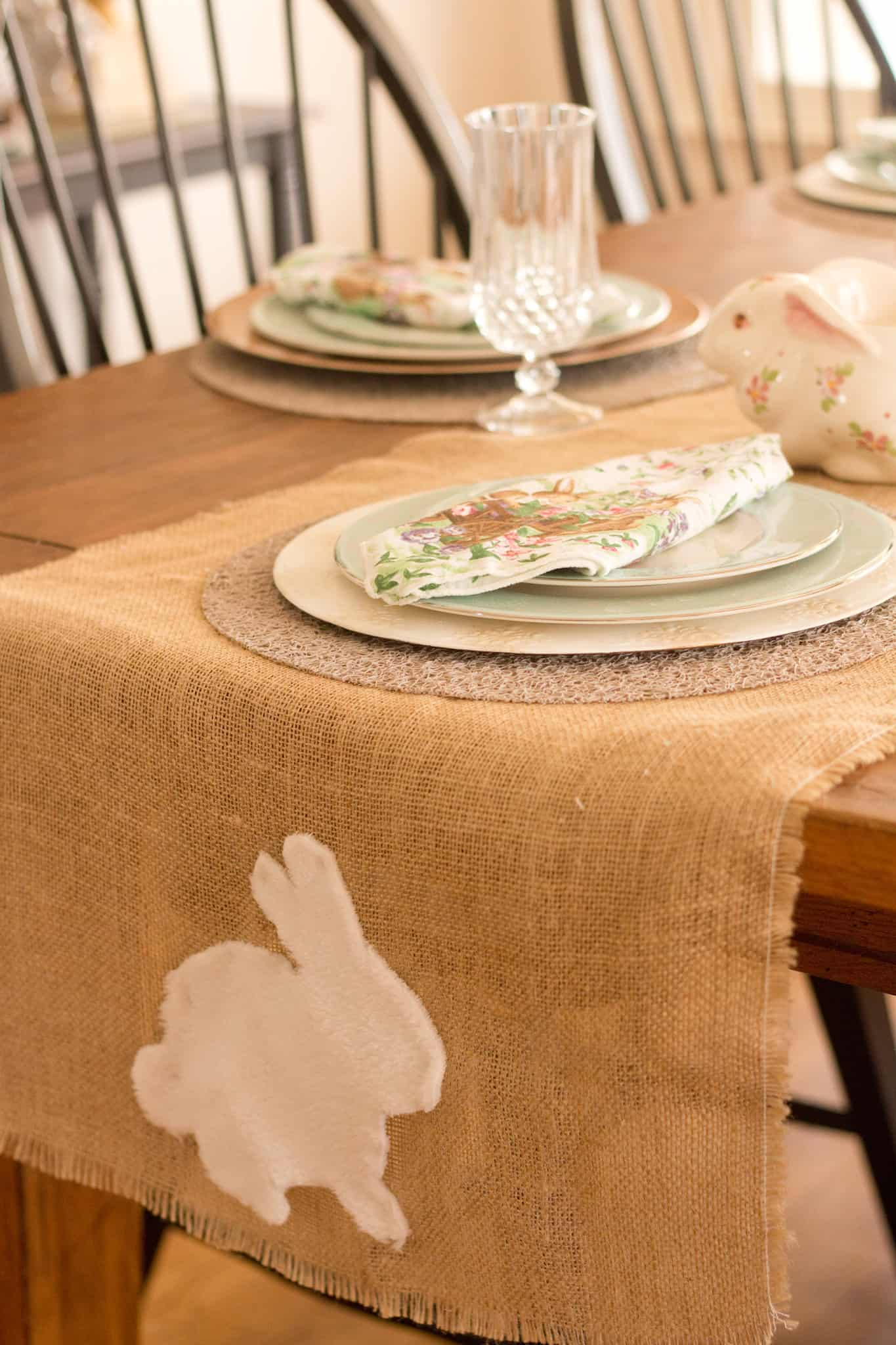 Bunny Table Runner and Thrifted Table Setting