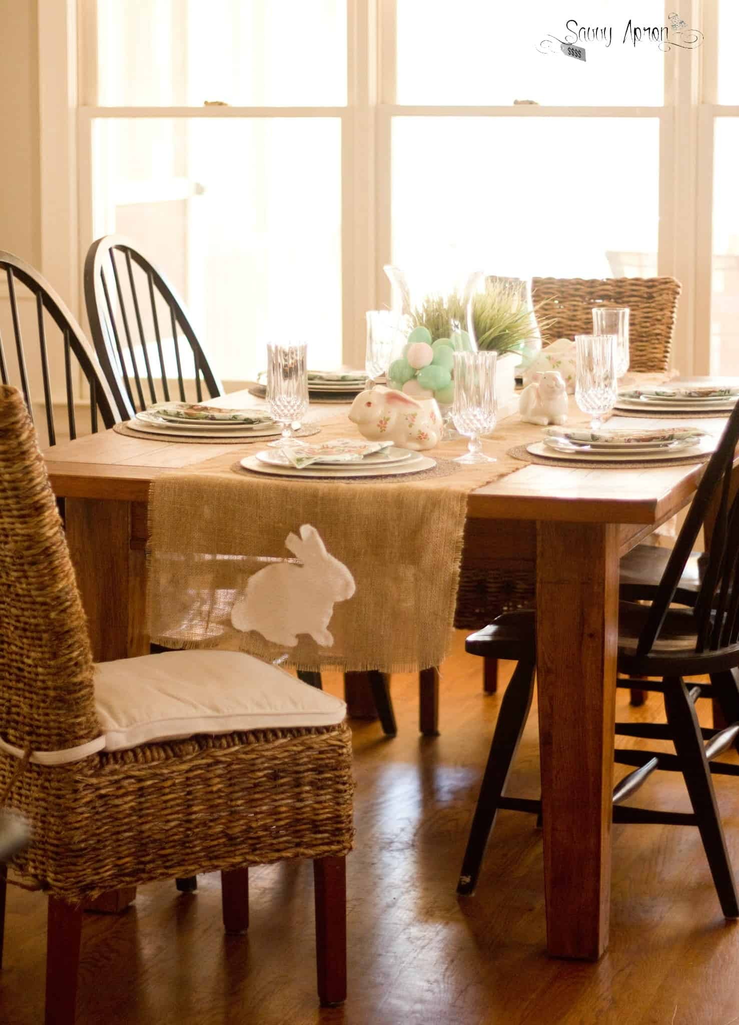 bunny table runner and thrifted table setting | savvy apron