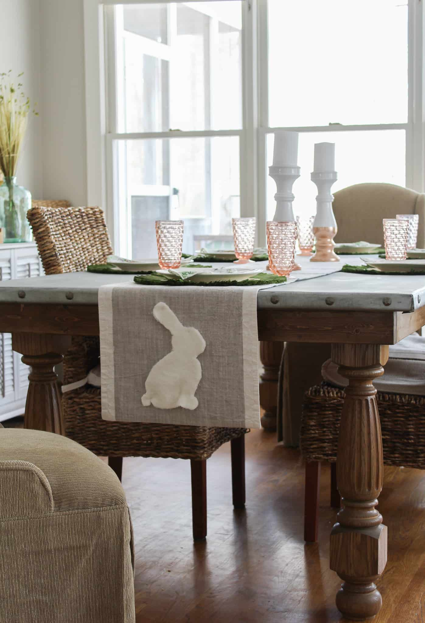 Adorable easy diy bunny table runner is super easy to make.