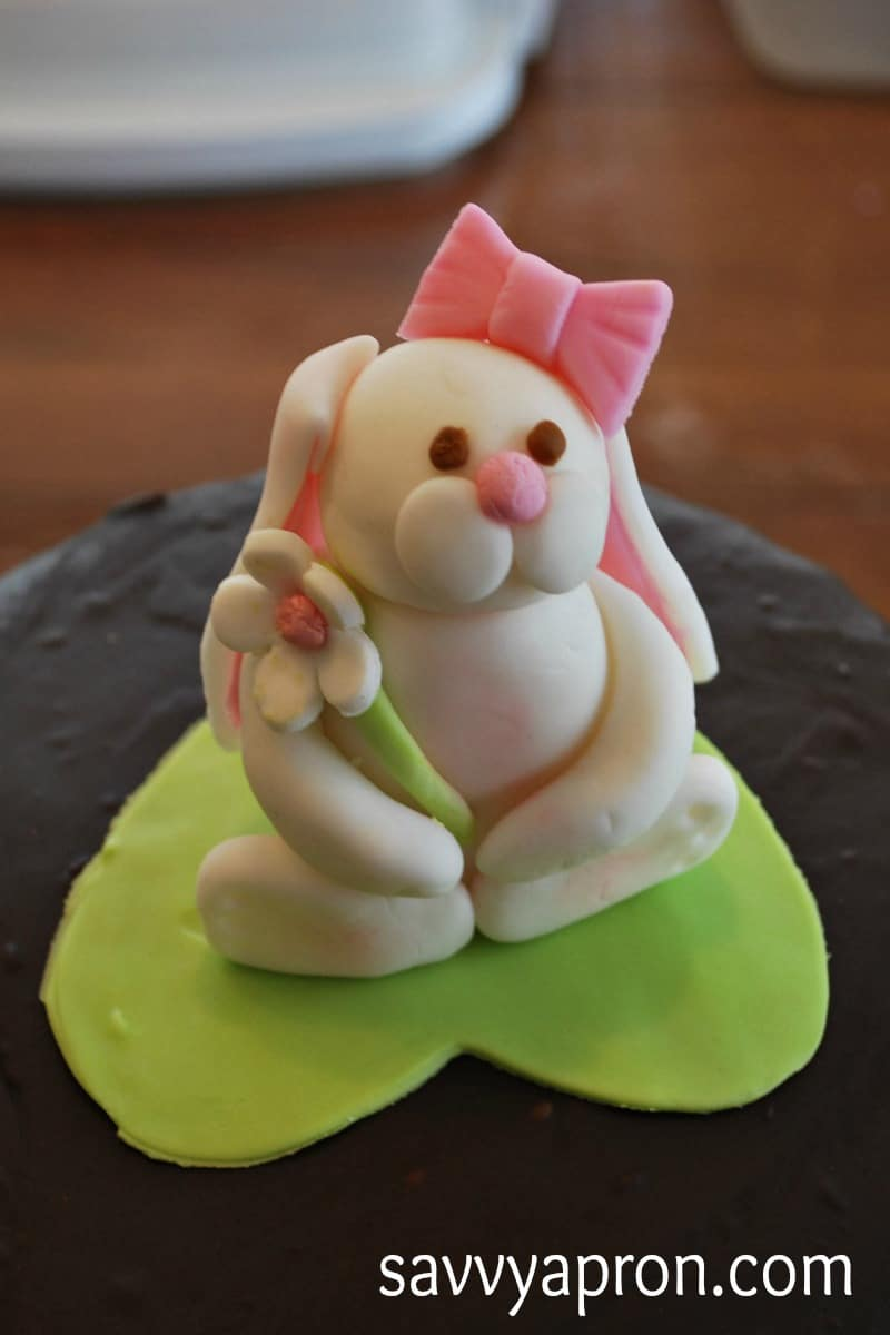 Bunny Cake Topper Made With Fondant