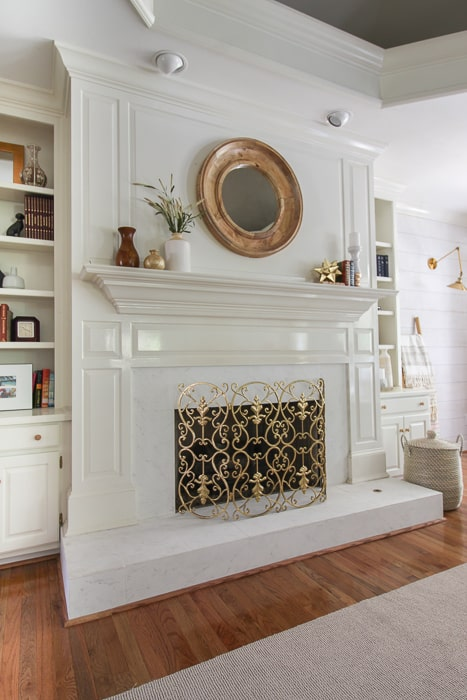 faux marble painted fireplace to update our home.