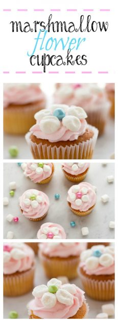 You can make these beautiful cupcake toppers with marshmallows and candy.
