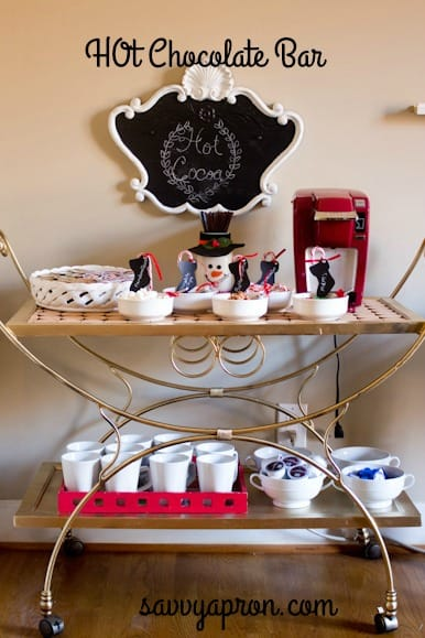 I wanted to makeover a bar cart, and I knew that it would be a multipurpose bar cart. I spray painted a thrifted bar cart, and I use it for a hot chocolate bar, coffee bar, drinks and also as decor in my home.