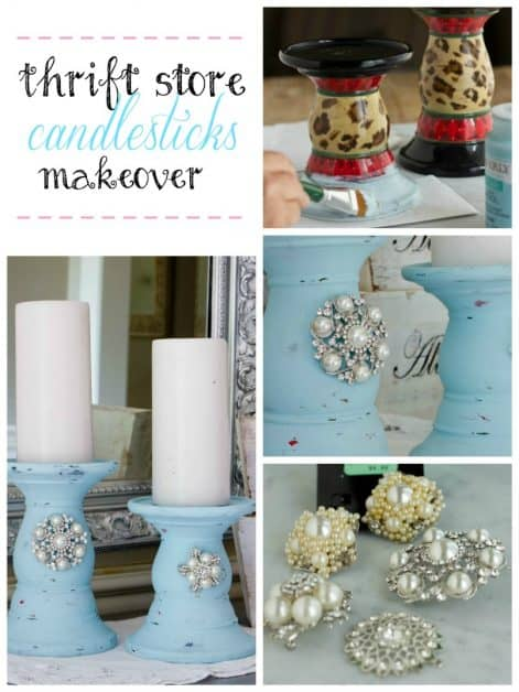 I took a pair of ugly thrift store candlesticks and transformed them into beautiful chalk painted candlesticks.