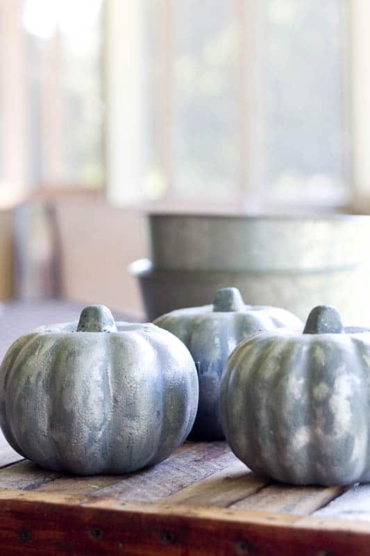 I made these DIY Galvanized Pumpkins with dollar store pumpkins and paint. I love how they look with the other galvanized items that I am using this year.