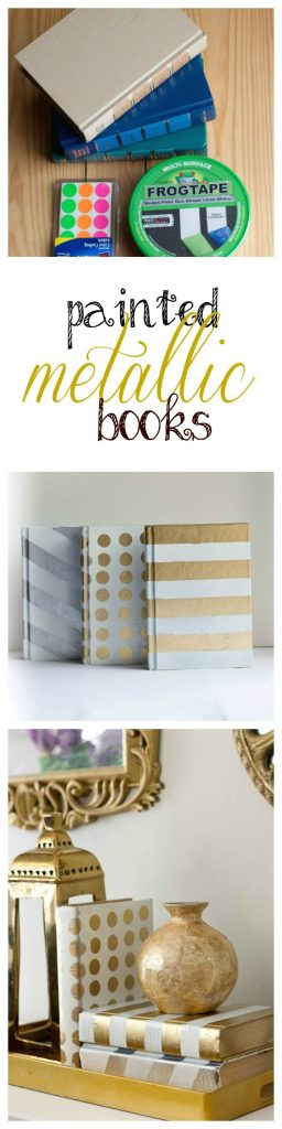With these painted metallic books, you can totally makeover your decor cheaply and easily.