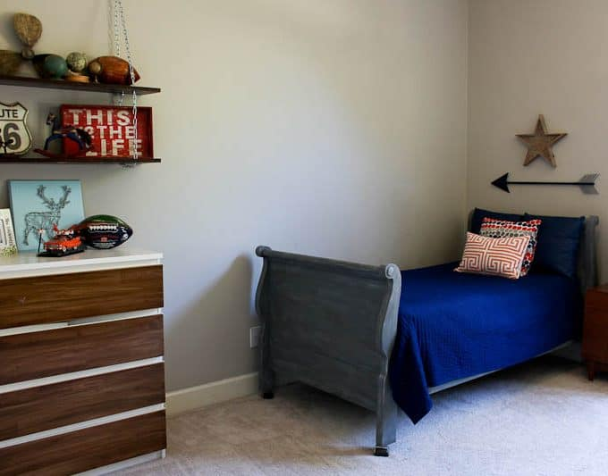 I chose my teenage son's room for the $100 room makeover challenge.