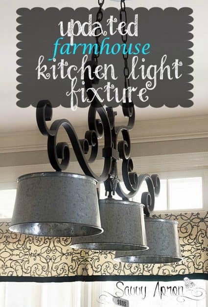 I used galvanized buckets for my updated farmhouse kitchen light fixture. It is an easy way to update an old light fixture.