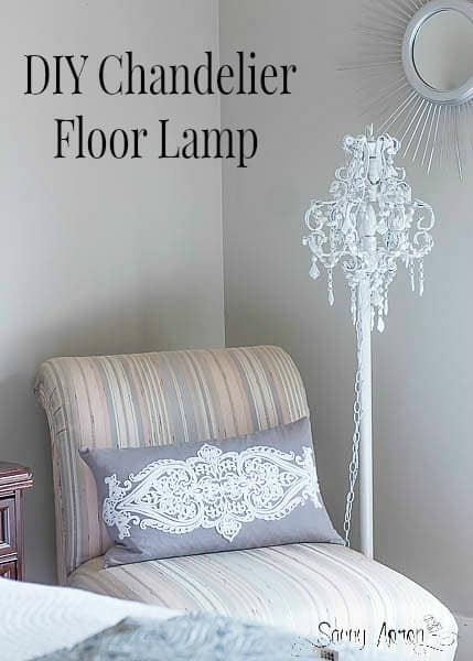 I made a DIY Chandelier Floor Lamp with thrifted lamp parts just like I had seen at Restoration Hardware for under $15.