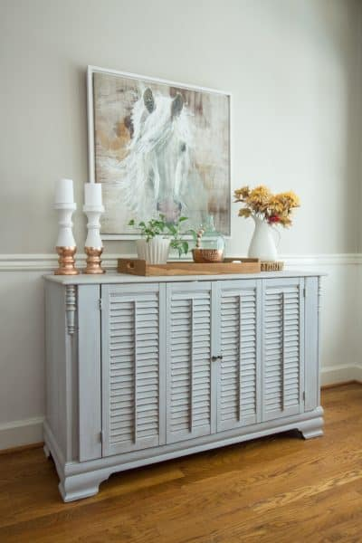 Dresser Makeover with Shutters is an easy way to update a dresser.