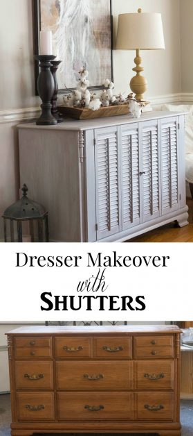 I made this beautiful dresser with shutters from an old dresser and a pair of thrifted shutter doors.