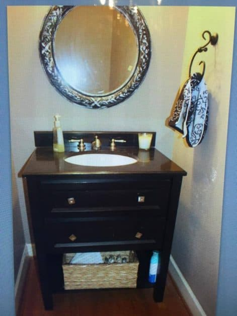 Before picture of my powder room for $100 room makeover challenge.