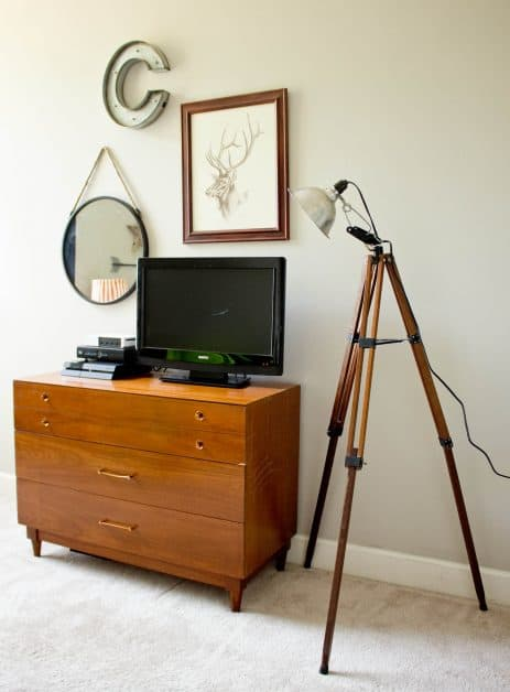 DIY Tripod Floor Lamp made from thrifted tripod stand.