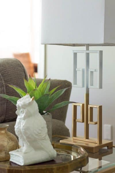 Gold and White Spray Painted Lamp Makeover