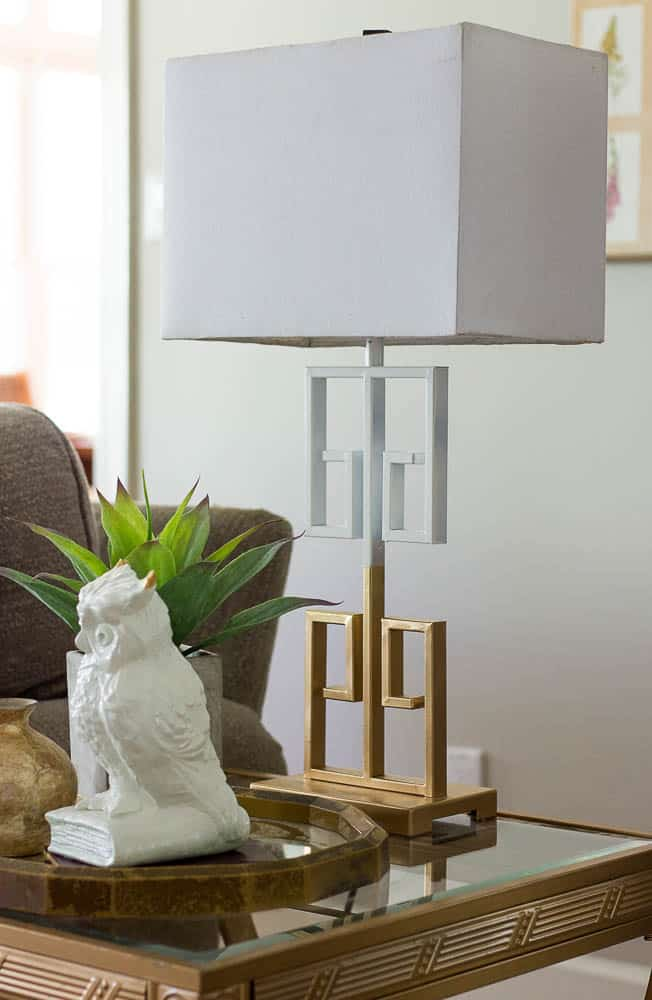 Gold and white spray painted lamp for under $10 and it looks brand new.
