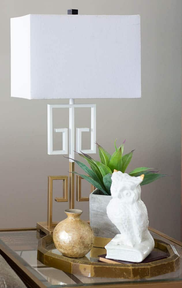 Gold and white spray painted lamp makeover.
