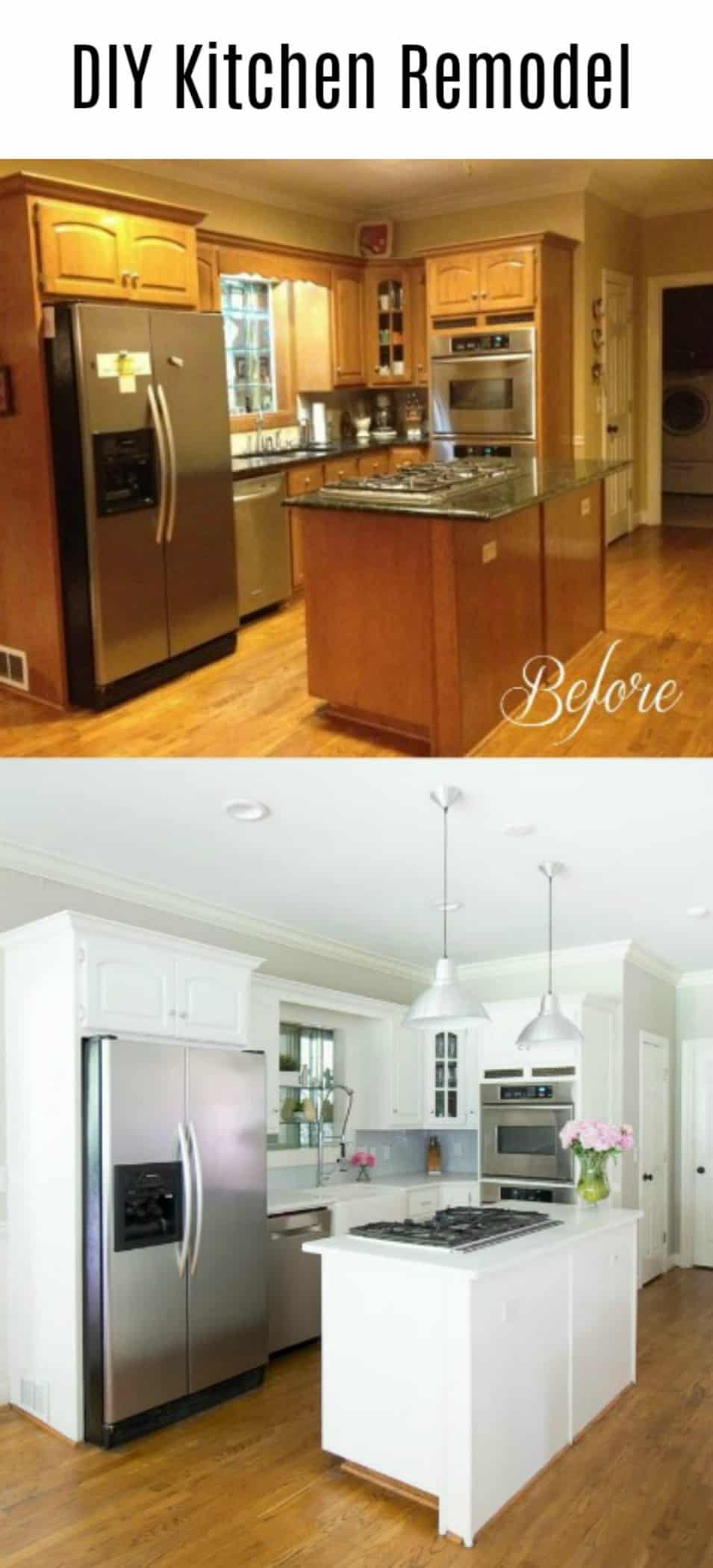 Diy kitchen remodel reveal savvy apron for Cost to update kitchen cabinets and countertops