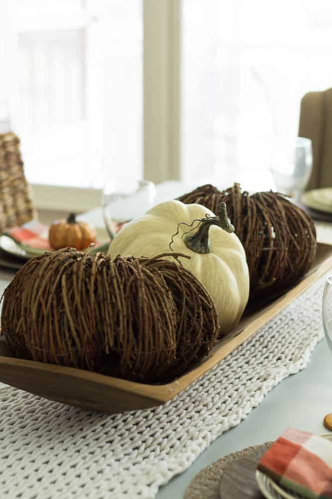 Fall Tablescape with knitted runner.