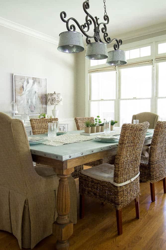 We Built A DIY Zinc Top Table With A Pine Base, White Oak Table Legs