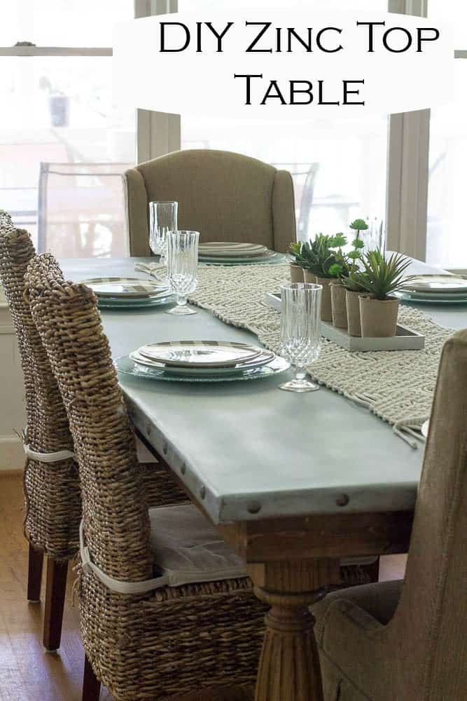 Delightful We Built Our DIY Zinc Top Table Using Pine Boards, Farmhouse Legs, And Zinc
