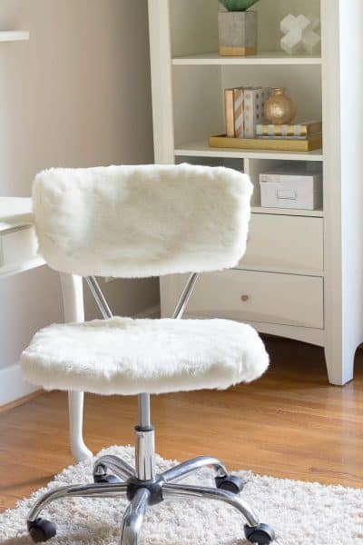 ORC Week 2-Office Chair Makeover with Fur for Under $5