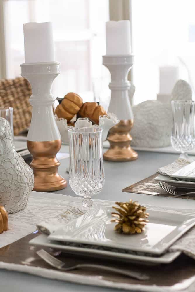 A beautiful Thanksgiving tablesetting can be elegant and beautiful.