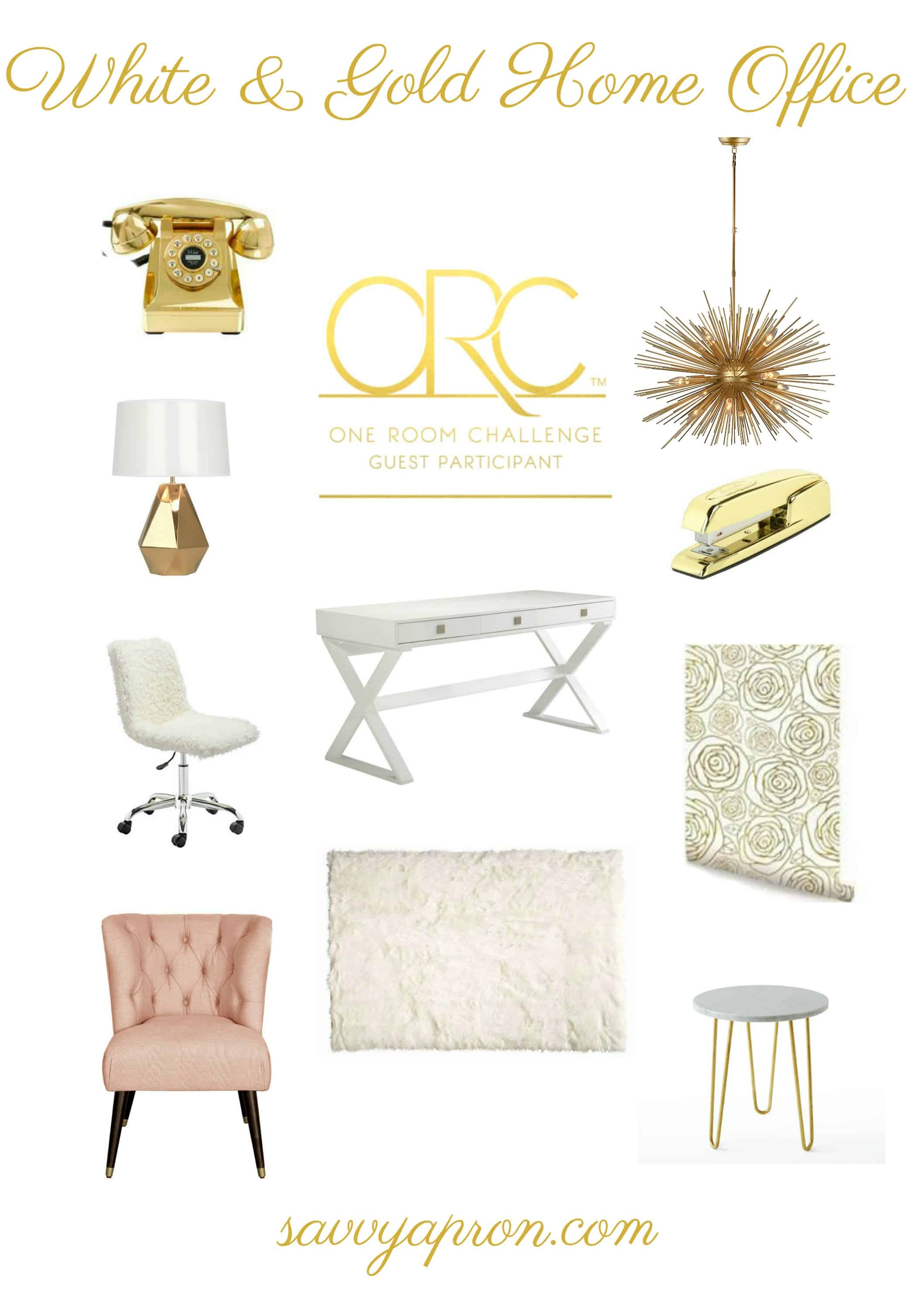 One Room Challenge-White & Gold Home Office