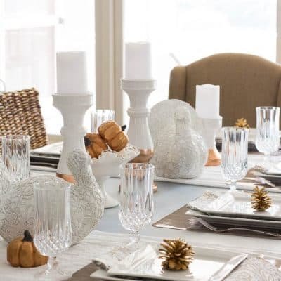 Thanksgiving Table with White and Copper