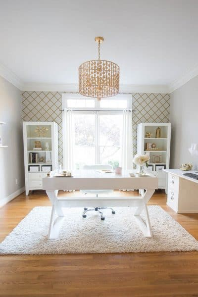 One Room Challenge-White and Gold Home Office Reveal