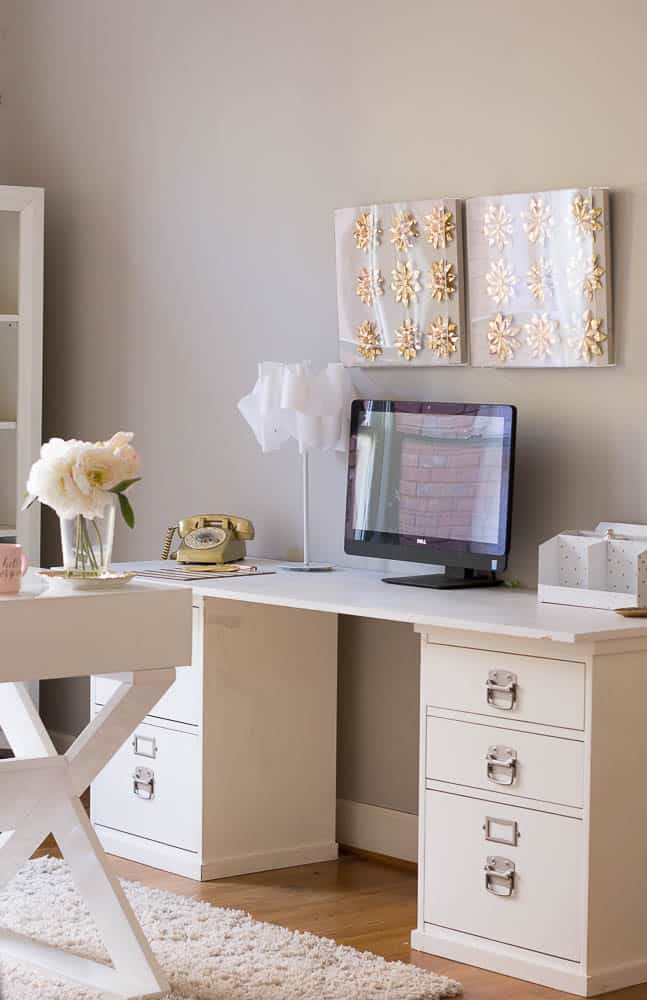 One Room Challenge-White and Gold Home Office
