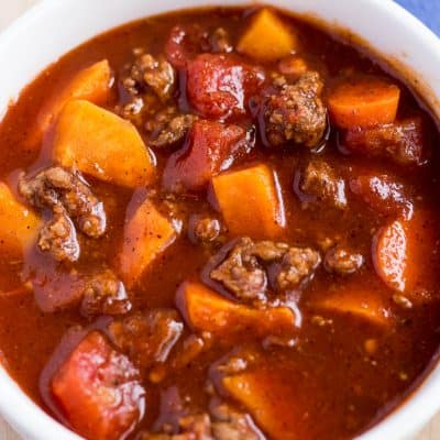 This is a easy Whole30 and Paleo Sweet Potato Chili recipe that is absolutely delicious and great to have on hand.