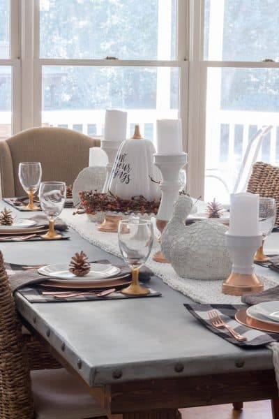 Buffalo Check and Copper Thanksgiving Tablescape