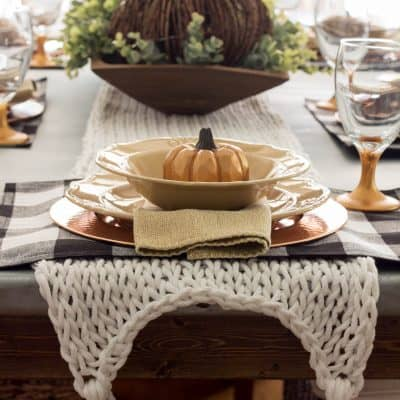 Buffalo Check and Copper Fall Table with Knitted Table Runner
