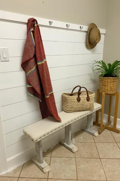 $100 Room Challenge-Faux Shiplap Wall with Hooks