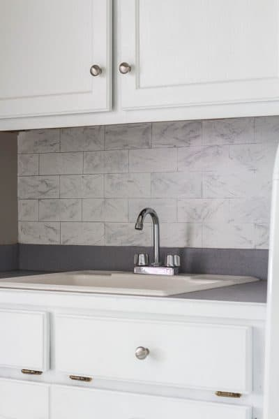 Faux Marble Subway Backsplash