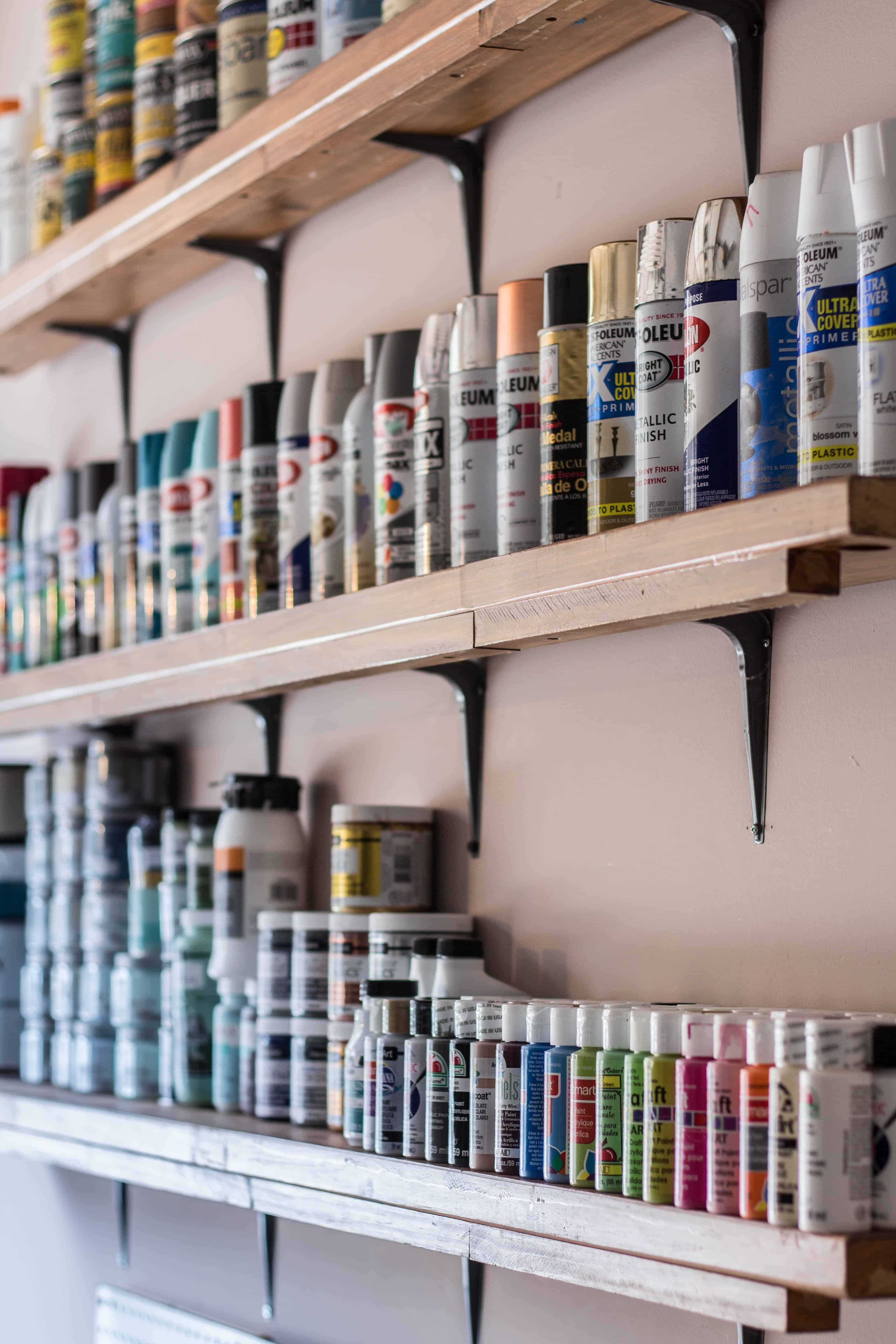 How I store and organize my paint supplies.