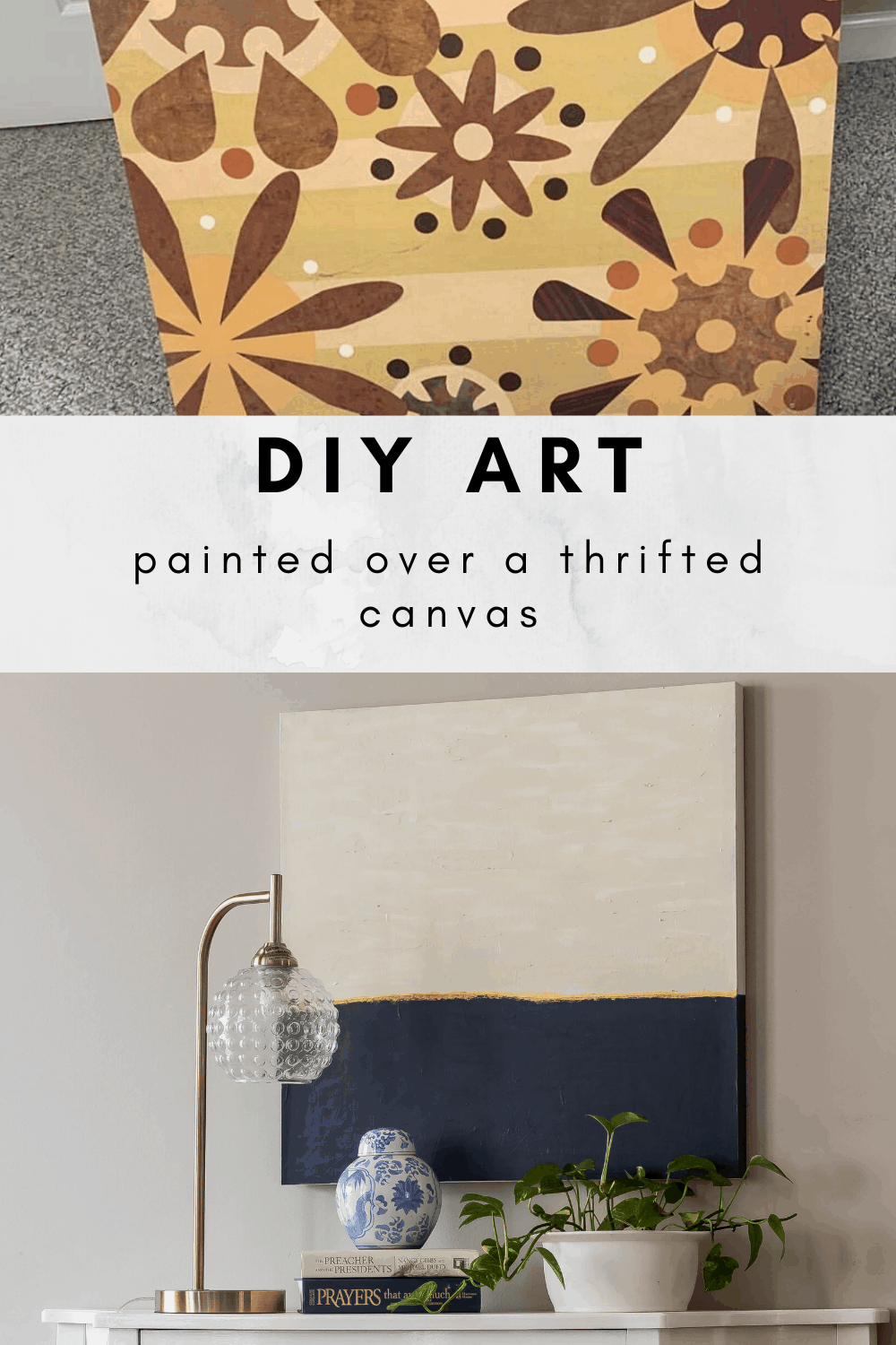 How to paint DIY art over a thrifted canvas.