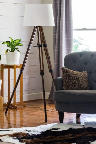 DIY Tripod Floor Lamp From Thrifted Telescope