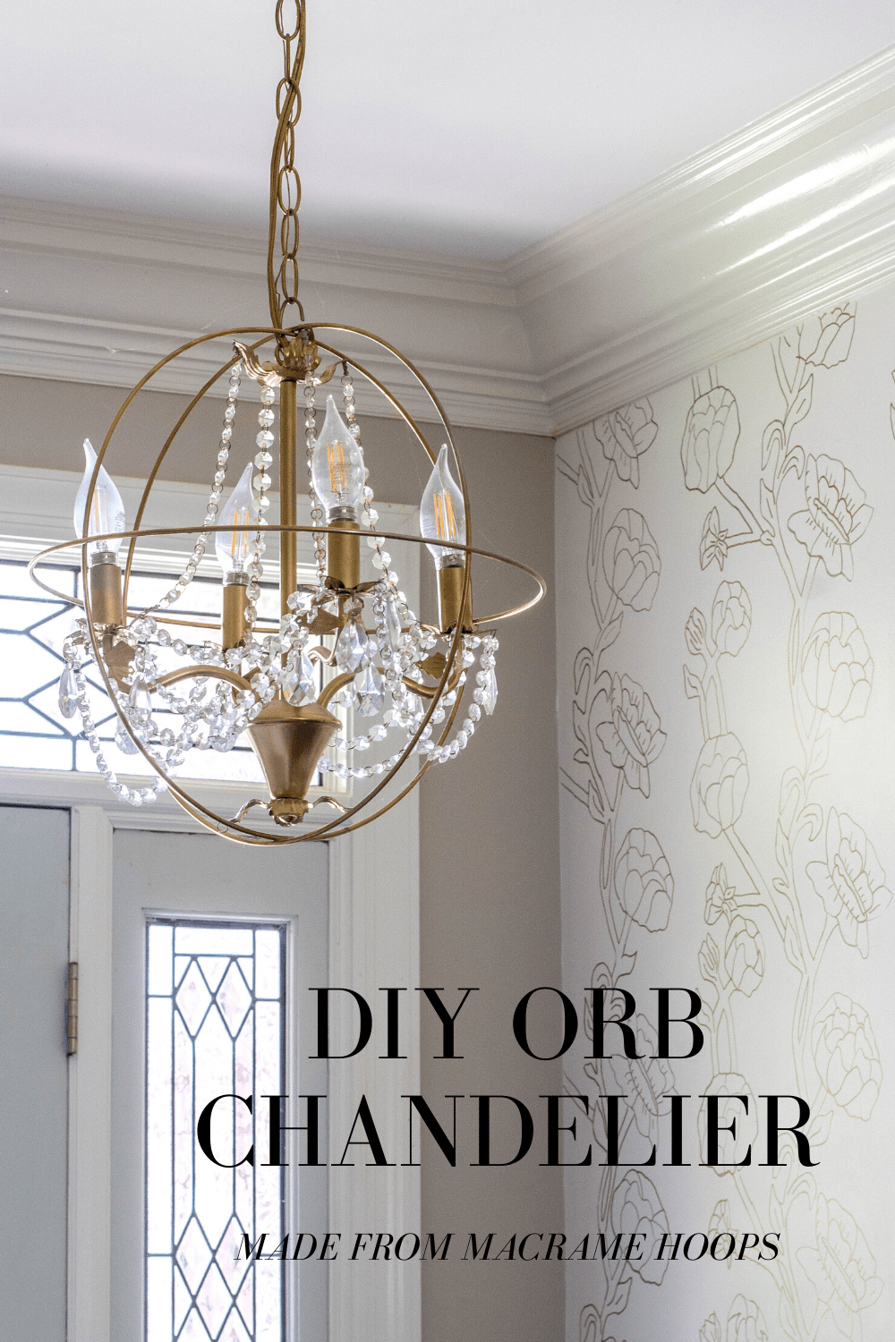 You can make a DIY Orb Chandelier with macrame hoops and an old chandlier.